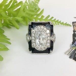 Vintage Victorian Inspired CZ & Black Enamel Ring